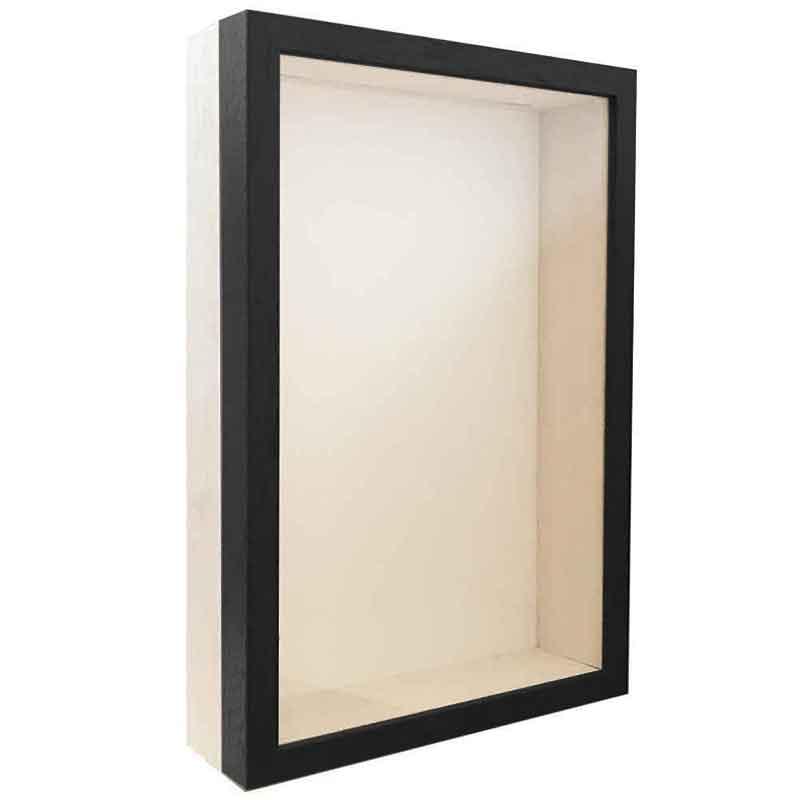 Spardosenrahmen Schwarz mit weißer Box 20x30 cm