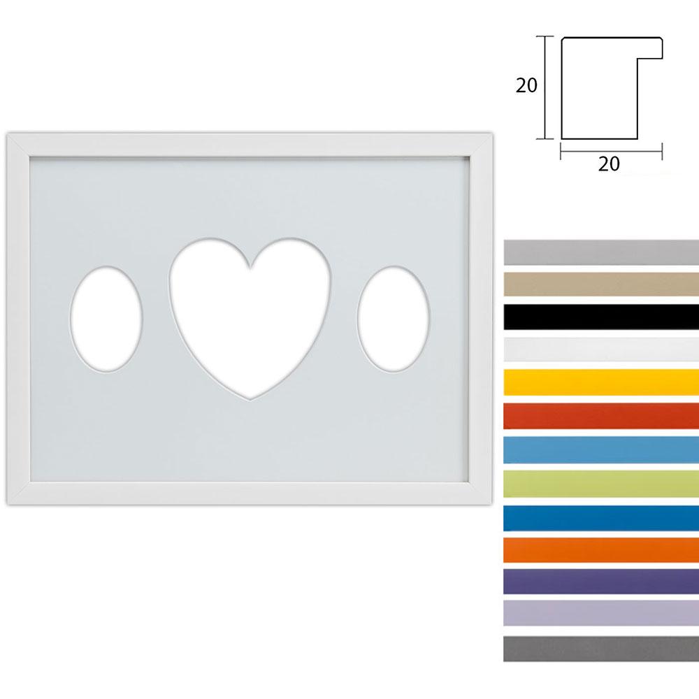 3er Galerierahmen Top Cube in 30x40 cm Ovalausschnitt mit Herz