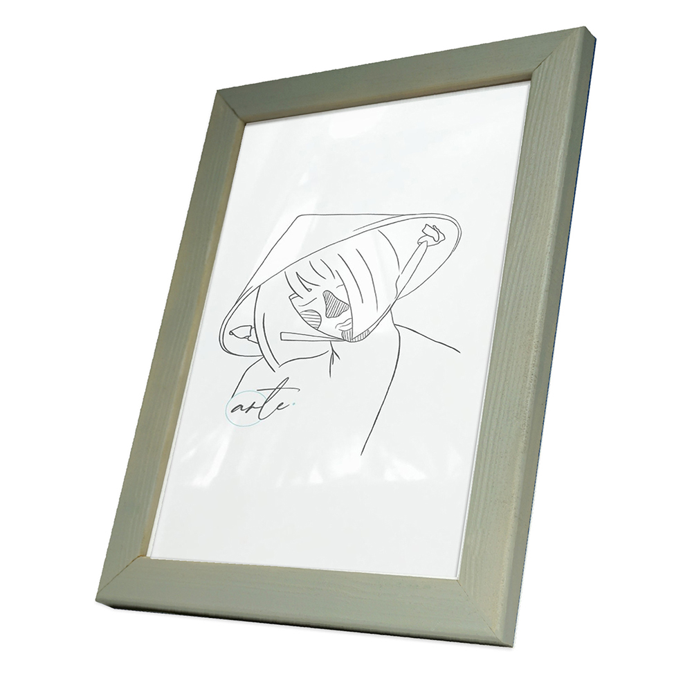 Holz-Bilderrahmen Max nach Maß Minze-Grau