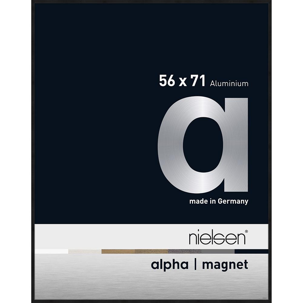 Alu-Bilderrahmen Alpha Magnet Schwarz matt eloxiert 56x71 cm