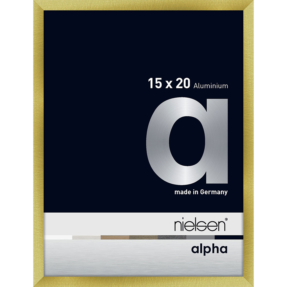 Alurahmen Alpha Brushed Gold 15x20 cm
