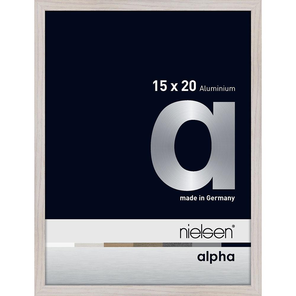 Alurahmen Alpha Eiche weiß (furnierte Oberfläche) 15x20 cm