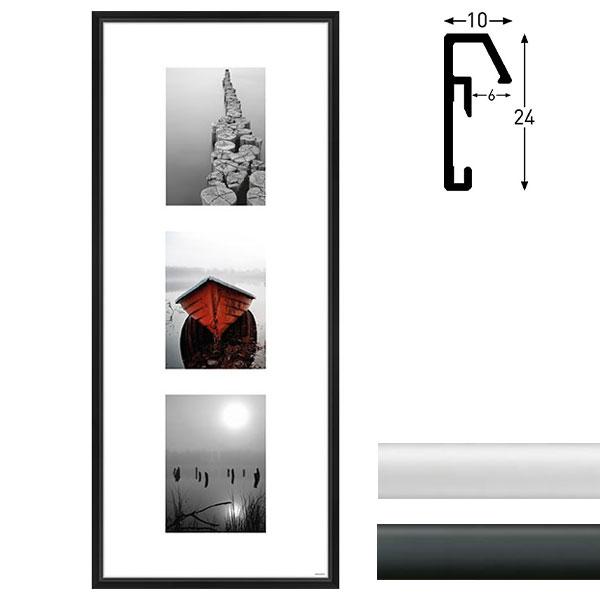 nielsen galerie bilderrahmen junior 3 bilder 20x60 cm 3x 10x15 cm schwarz matt. Black Bedroom Furniture Sets. Home Design Ideas