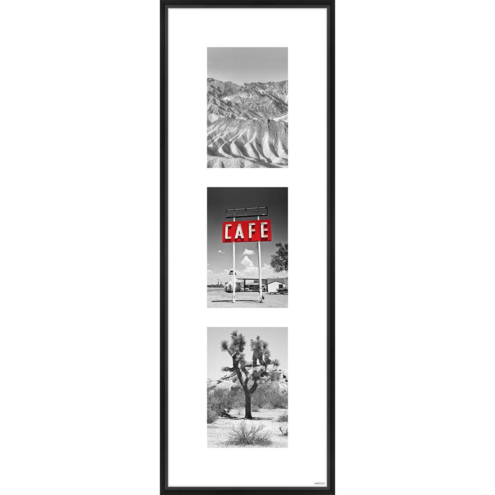 Galerie-Bilderrahmen Junior 3 Bilder Schwarz matt 20x60 cm (3x 10x15 cm)