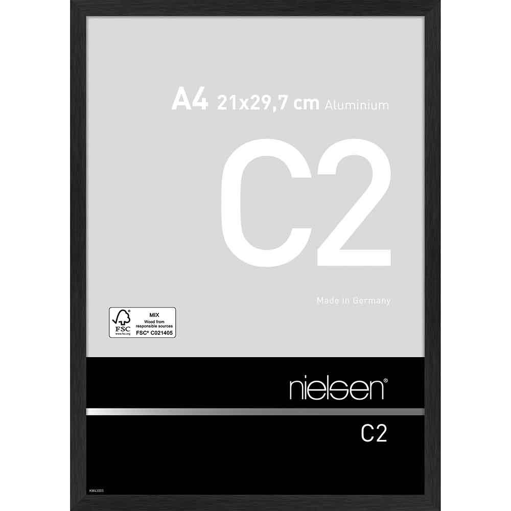 Alurahmen C2 Struktur Schwarz matt 21x29,7 cm (A4)