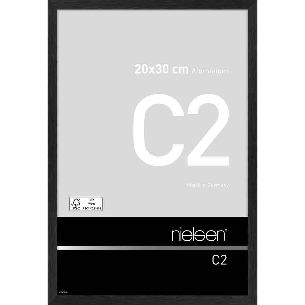 Alurahmen C2 Struktur Schwarz matt 20x30 cm