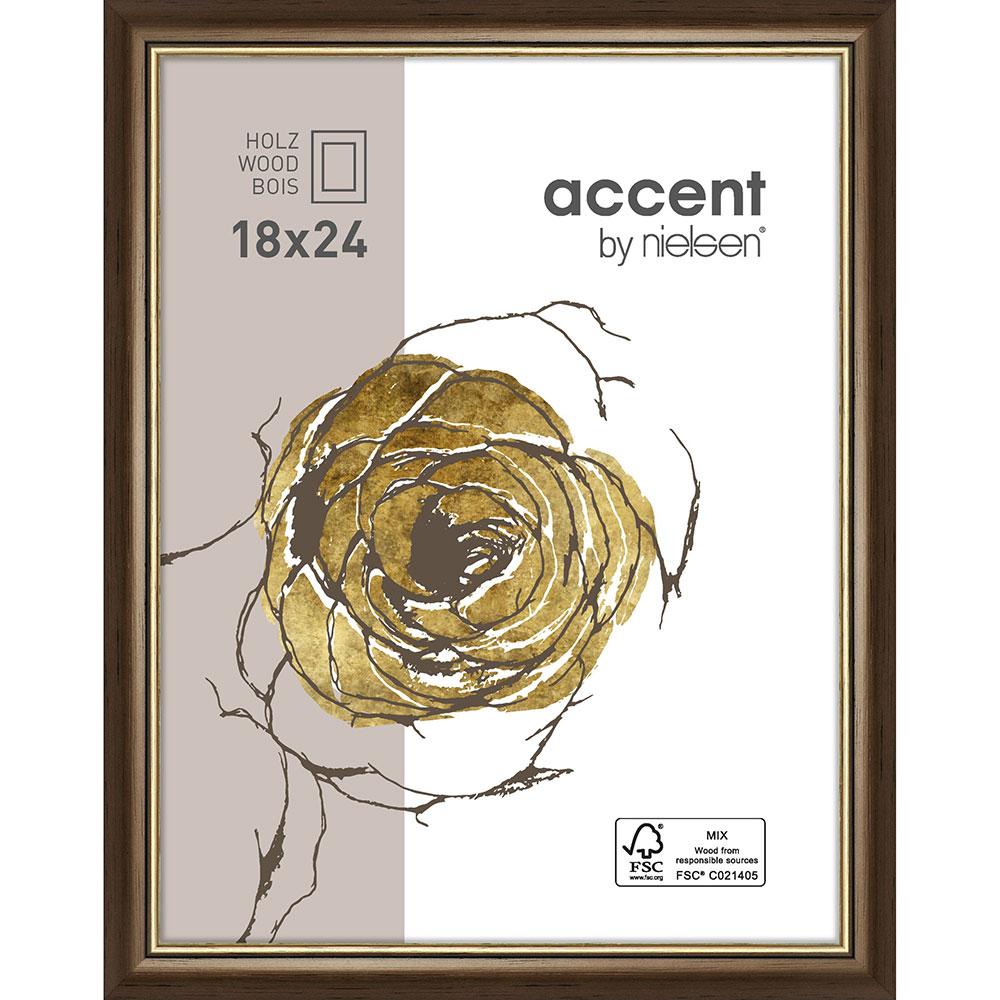 Holzrahmen Ascot Dunkelbraun-Gold 18x24 cm