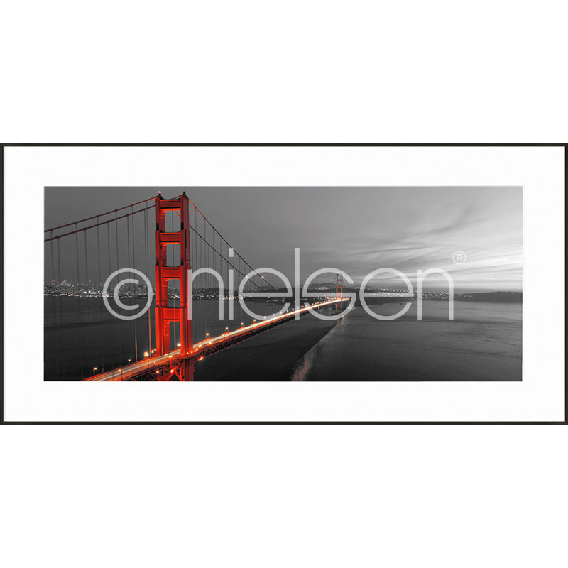 "Gerahmte Kunst ""Golden Gate Bridge"" mit Alurahmen C2"
