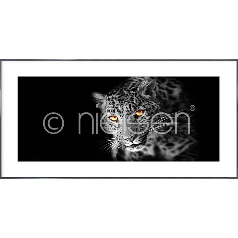 "Gerahmte Kunst ""Leopard"" mit Alurahmen Alpha"