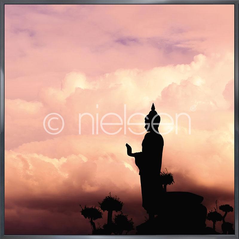 """Gerahmte Kunst """"Buddha"""" mit Alurahmen Alpha"""