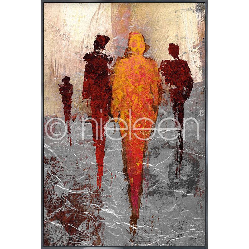 "Gerahmte Kunst ""Abstract Figures Red"" mit Alurahmen Alpha"