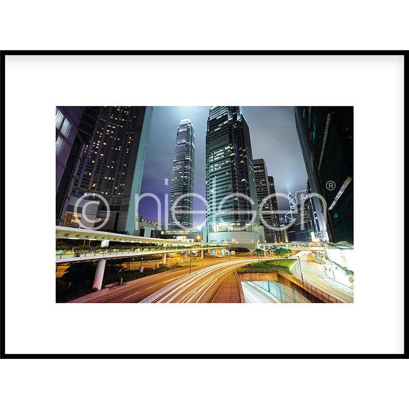 """Gerahmte Kunst """"Hongkong at Night"""" mit Alurahmen C2"""