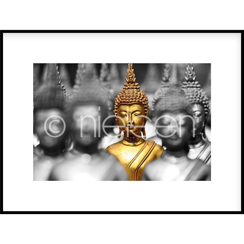 """Gerahmte Kunst """"Buddha in gold"""" mit Alurahmen C2"""