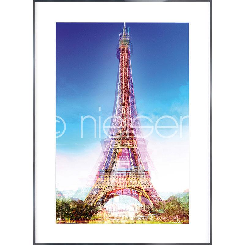 """Gerahmte Kunst """"Eiffel Tower"""" mit Alurahmen Alpha"""