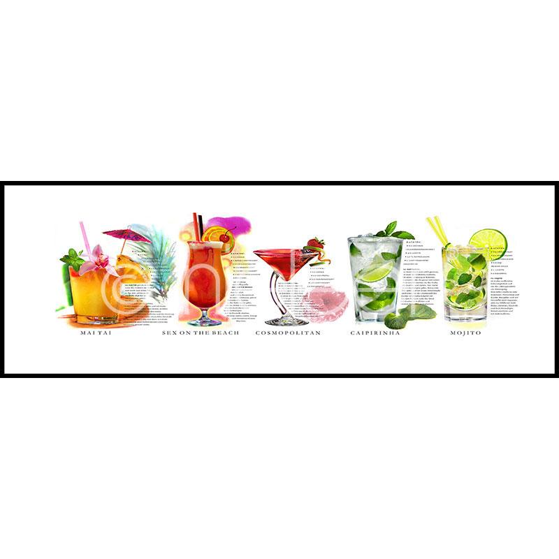 "Gerahmte Kunst ""Cocktails"" mit Alurahmen C2"