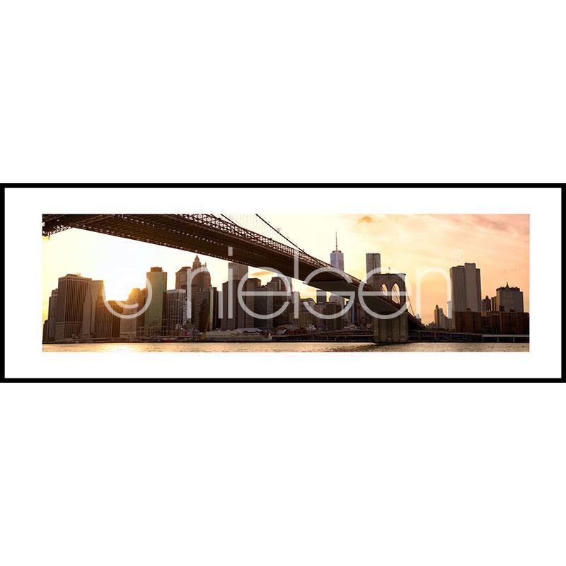 "Gerahmte Kunst ""Brooklyn Bridge Sunset"" mit Alurahmen C2"
