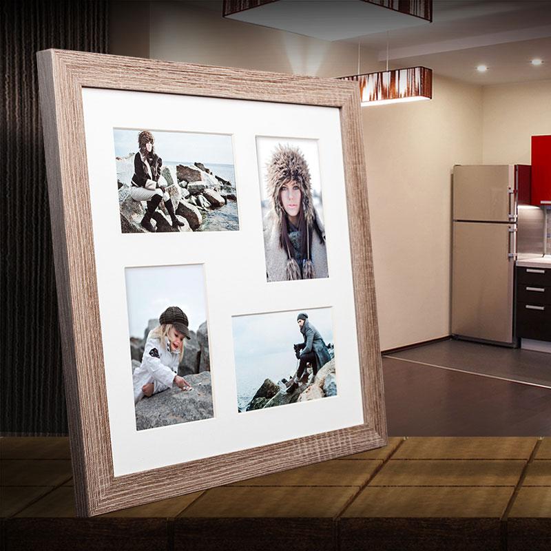 Galerie-Bilderrahmen NARVIK für 4 Bilder mittelbraun