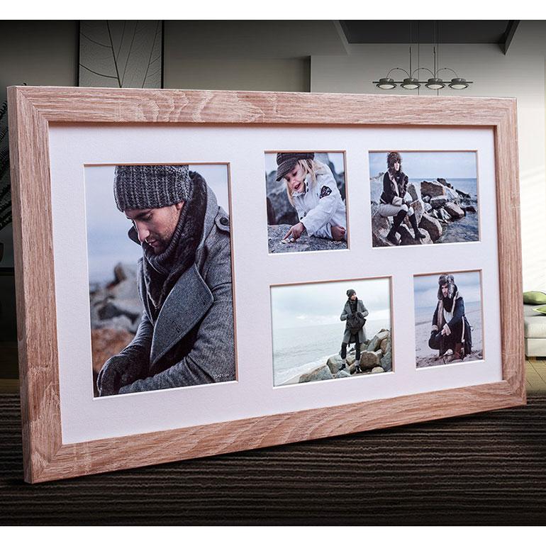 Galerie-Bilderrahmen NARVIK für 5 Bilder hellbraun