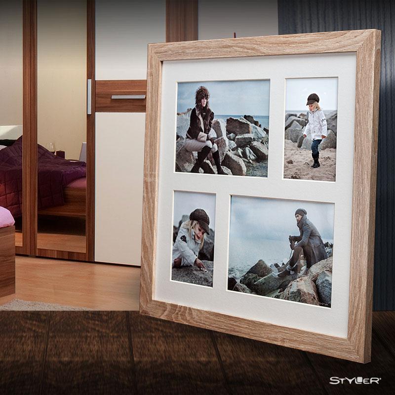 Galerie-Bilderrahmen NARVIK für 4 Bilder hellbraun