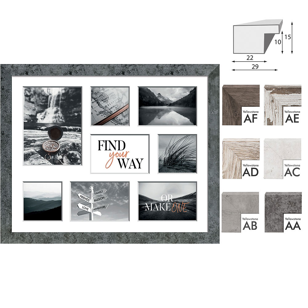 Galerie-Bilderrahmen YELLOWSTONE für 8 Bilder