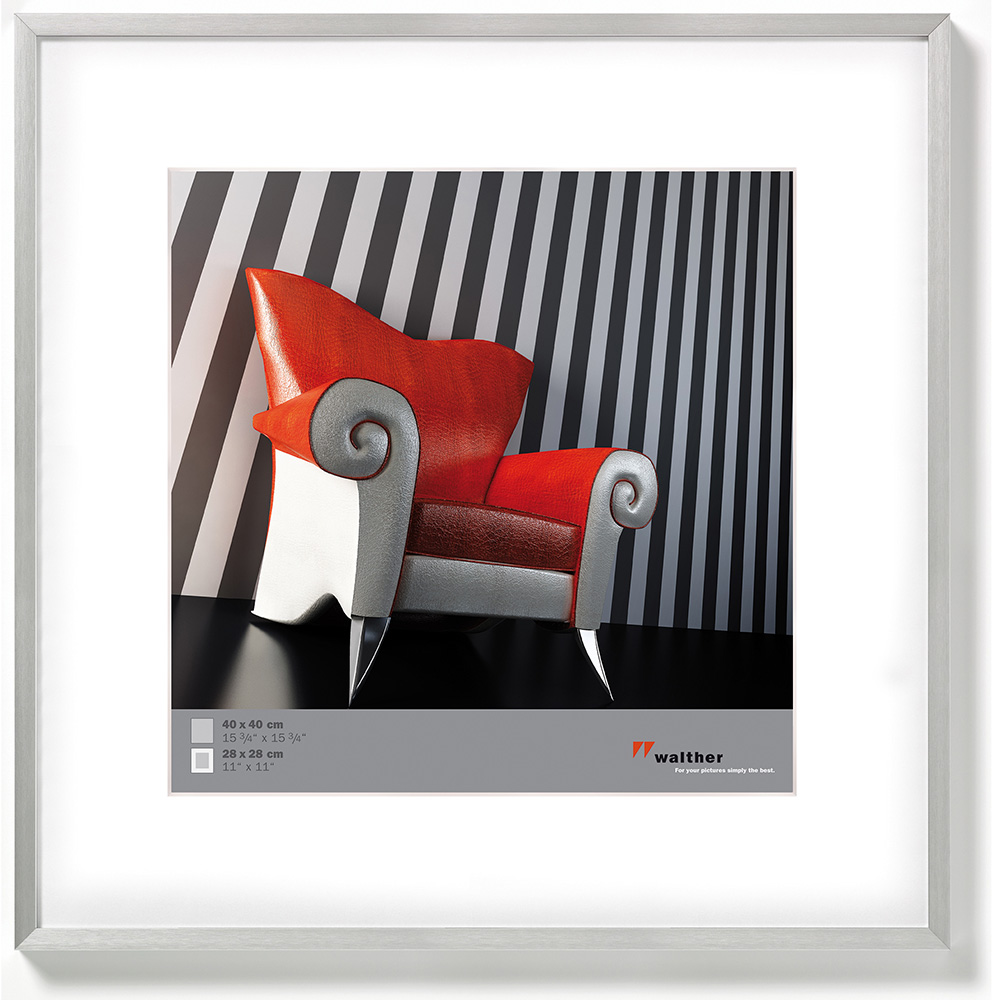 walther alurahmen chair 40x40 mit passepartout 28x28 silber. Black Bedroom Furniture Sets. Home Design Ideas