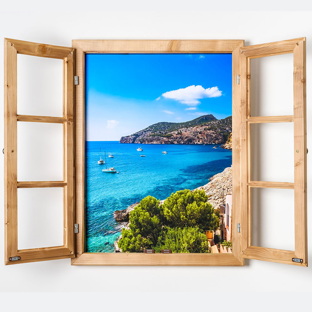 gipfel design dekofenster 60x80 meerblick motiv mit led beleuchtung gebeizt bild auf forex. Black Bedroom Furniture Sets. Home Design Ideas
