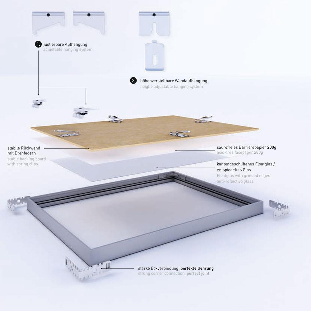 Nielsen Alurahmen Alpha 35x100 cm - Eiche weiß (furnierte Oberfläche ...
