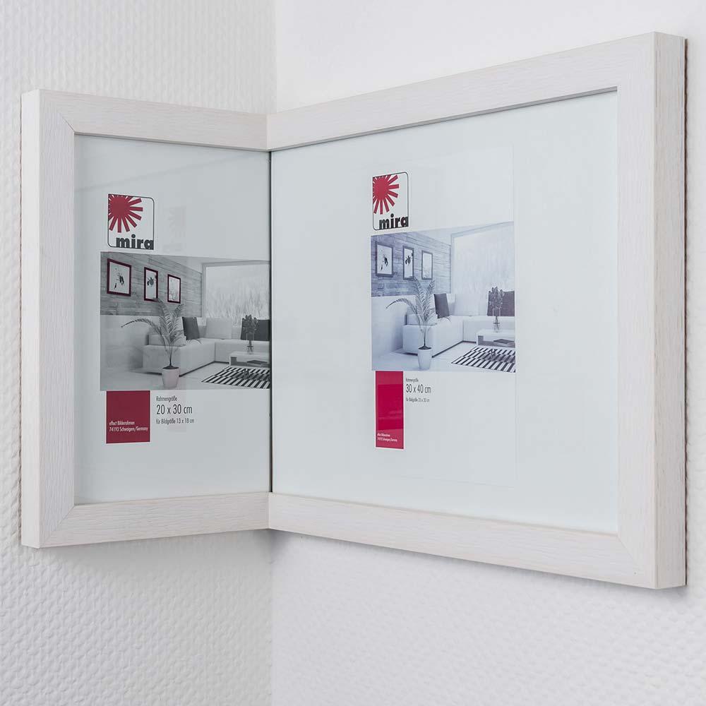 Mira In-die-Ecke-Rahmen 2:1, breit 20x30 cm / 30x40 cm - Cremeweiß ...