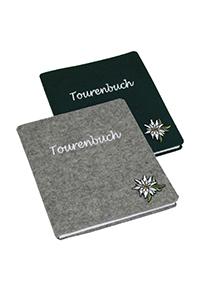 """Tourenbuch """"Edelweiss"""" aus Filz mit Applikation"""