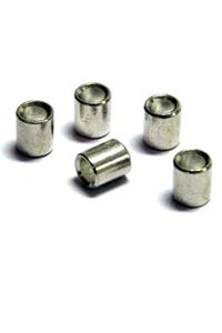 100 Stück Pressösen für Perlonseile (2mm) und Stahlseile, weiss (1,5mm)