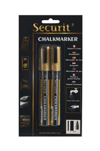 Fl�ssiger Kreidemarker, 2er Set Gold, medium
