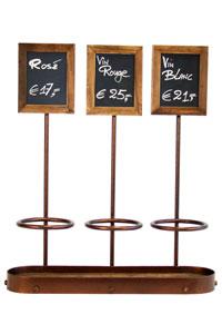 Flaschenhalter mit Beschriftungstafel für 3 Flaschen